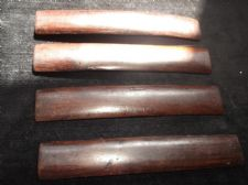 "4 X VINTAGE UNUSUAL SOLID EBONY WOOD KNIFE RESTS GOOD COLOUR & GRAIN 7"" LONG"